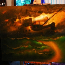 Ghost Ship, oil on canvas, in studio