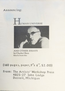 Charles Olson Detroit Artists workshop human universe