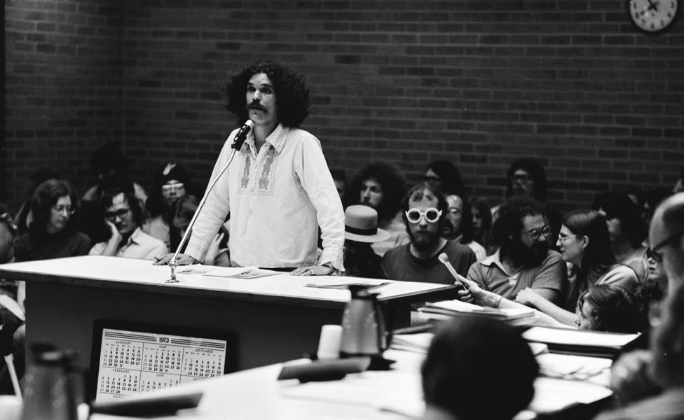 Pun Plamondon Addresses Ann Arbor City Council, 1973