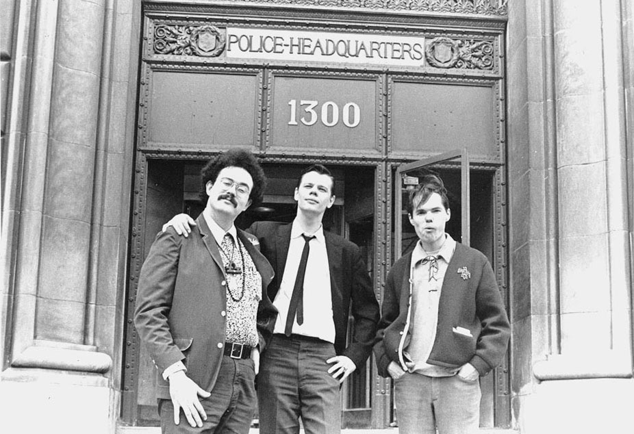 Left to right: John Sinclair, Joe Mulkey and Bill Reid, after applying for a permit to hold a love-in on Belle Isle, 1967
