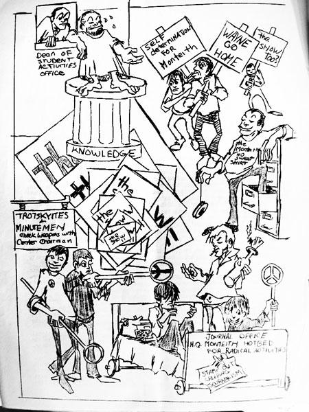 Monteith Journal cartoon by Chuck Logan, 1961, Vol 4 April 2, 1962, editor Chuck Logan