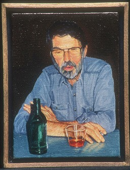 "Ann Mikolowski, ""Robert Creeley"" (1988). Oil on linen. 3 1/4"" x 2 3/8"". Collection Penelope Creeley."