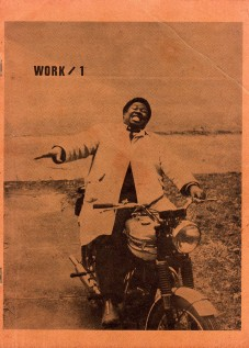 Charles Moore on a motorcycle in front of the Artists Workshop. Photograph by Robin Eichleay 1965